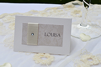 Image of Champagne and Bows Place card.