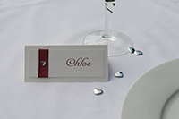 Image of Diamante Heart place card.