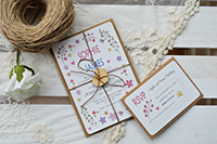 Image of Ditsy Daisy design with RSVP and wooden heart with twine bow.