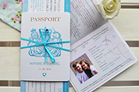 Two passport invitations, one open at the information and photograph inserts.