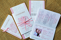 A whole set of passport invitations with their RSVPs.