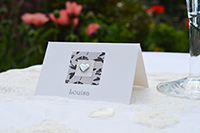 Image of Vintage Love Birds place card.