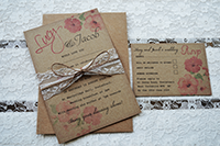 Vintage Hibiscus bundle with  invite and RSVP and lace and twine belly band