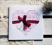 From the Heart design, typography design heart with phrases, organza ribbon and tag with diamante.