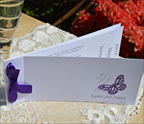 Passionate purple cheque book invitation with satin ribbon, paper butterfly, diamantes and up to 5 inserts.