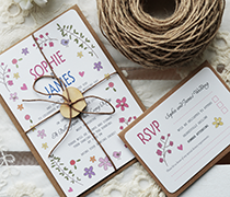 ditsy Daisy invitation bundle with RSVP, twine tie with wooden heart tag.