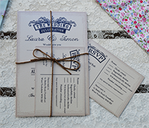 Image of Emily invitation with rsvp and bunting