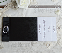 Gothic diamante cheque book invitation with up to five inserts and diamantes