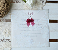 Sheer Floral Wallet invitation with bow