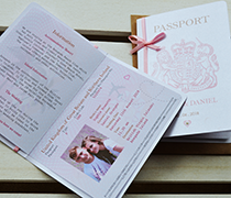 Passport style invitation with 3 sided insert including passport style photo page and satin ribbon and bow.