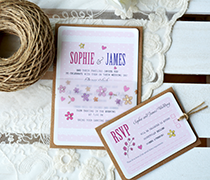 Dots and Daisies invitation with antique paper rose
