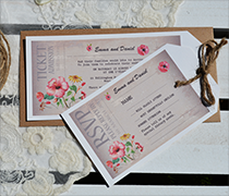 Vintage Ticket bundle with hibiscus pattern. Ticket shape with twine and RSVP