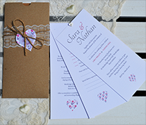 Afternoon Tea invitation wallet with lace and twine belly band, floral heart tag and up to four inserts
