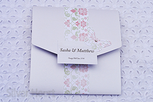 Broderie Antique Rose Square Pocketfold invitation.