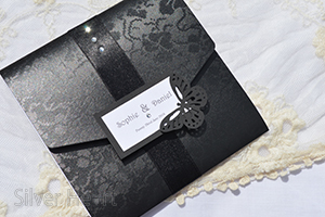 Gothic Diamante Square Pocketfold invitation.