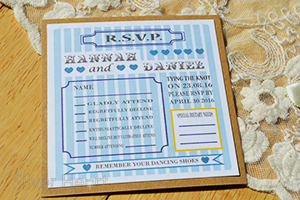 Example of a separate RSVP card ( Candy Stripe Vintage blue).