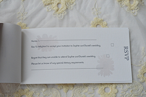 Example of a cheque book RSVP insert.