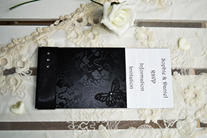 Gothic Diamante cheque book wedding invitation, on black broderie lace effect card wtih black butterfly and gems.