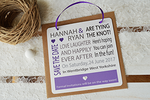 Example of save the date with loop to hang up card.