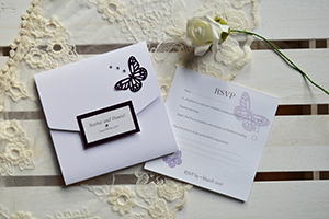 Passionate Purple Square Pocketfold invitation.