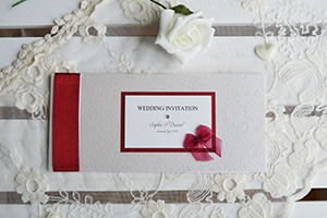 Ribbons and Bows cheque book invitation.
