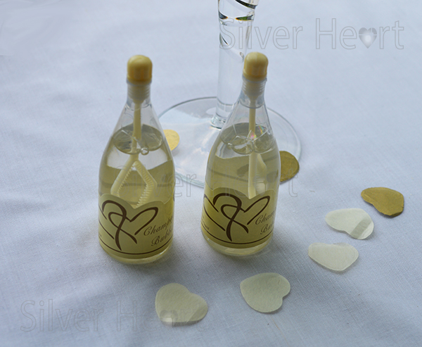 Large image of Ivory top champagne bubbles for wedding tables.