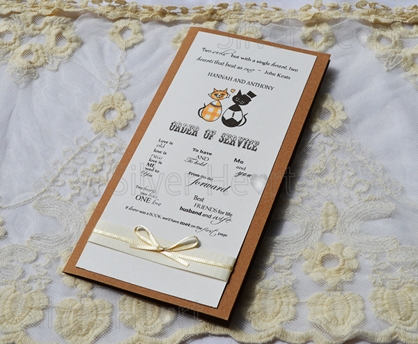 Image of Purr-fect Vintage Order of Service with satin ribbons.