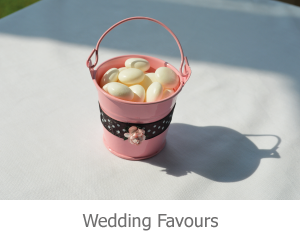Pink Pail wedding favour, gift for guests, made from metal 5cm tall.