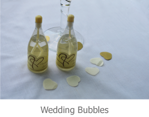 Image of Ivory Top Wedding bubbles, bottles with champagne style lable.