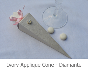 Ivory Applique cone favour with Diamante, image.