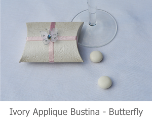 Ivory Applique Bustina with butterfly, favour image.