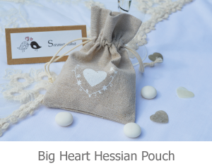 Big Heart Hessian Pouch favour image.