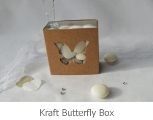 Kraft Butterfly favour box, image.