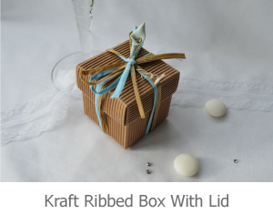 Kraft Ribbed Box with Lid favour image.
