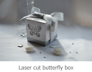 Laser cut butterfly box favour image.