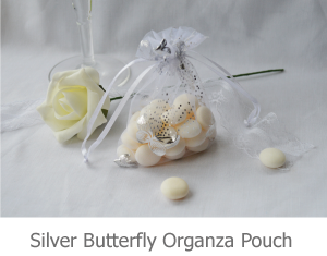 Silver Butterfly Organza Pouch image.