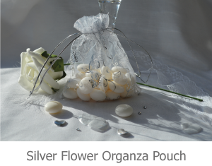 Silver Flower Organza Pouch image.