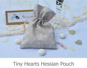 Tiny Hearts Hessian Pouch favour image.