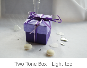 Two Tone favour box with light top, image.