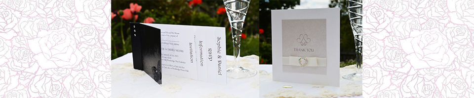 Slider with image of Gothic Diamante cheque book invitation and Champagne and Bows thank you card.