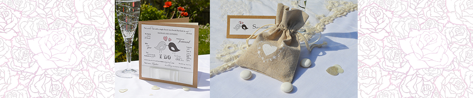 Slider with image of Vintage Love Birds invition and Big Heart Hessian favour pouch.