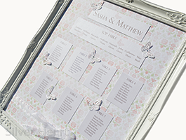 Broderie Antique Rose Table Plan with rose and vine patterned paper background , pearlescent guest lists and titles and buttefly decorations.